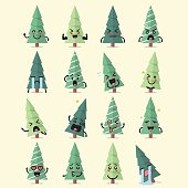 Christmas tree character emoji set. Funny cartoon emoticons