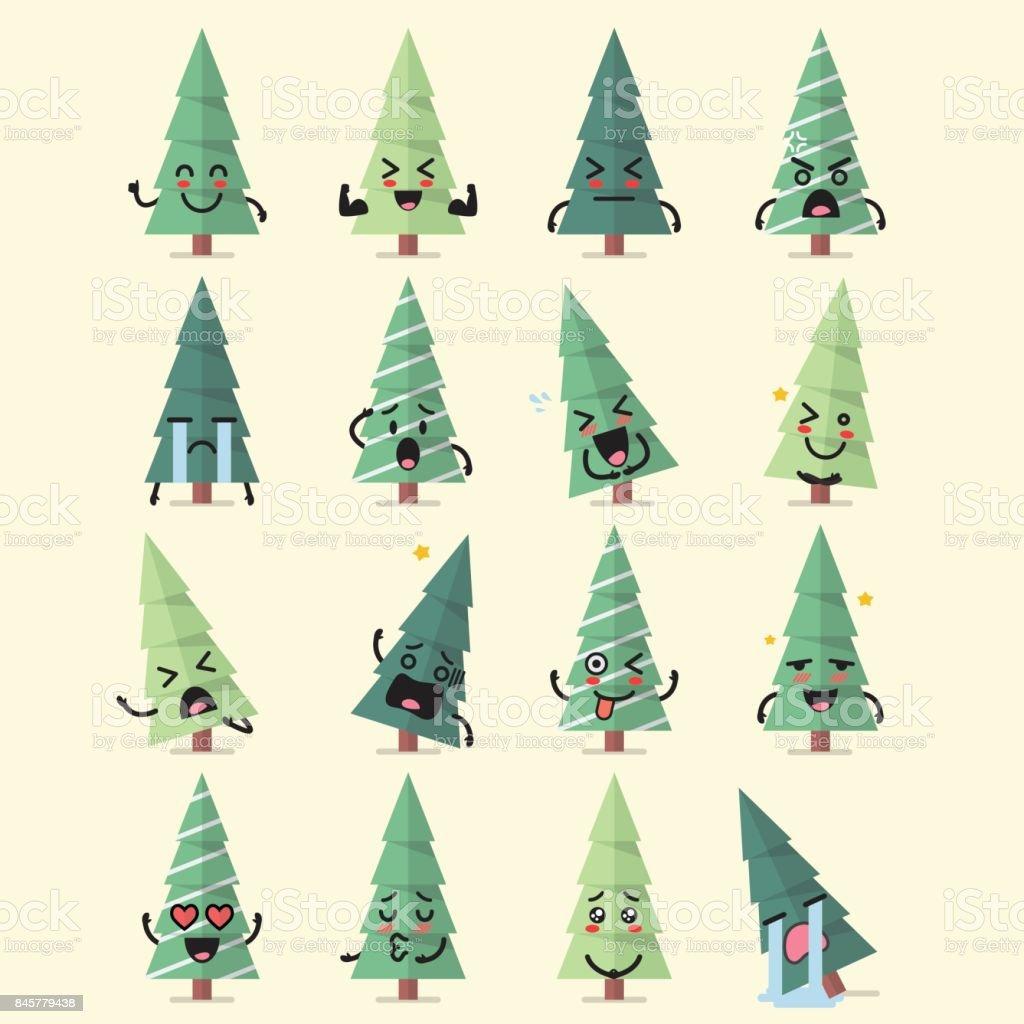 Conjunto de árvore de Natal caracteres emoji - ilustração de arte em vetor