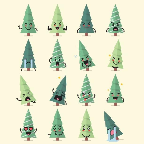 ilustraciones, imágenes clip art, dibujos animados e iconos de stock de juego de árbol de navidad caracteres emoji - emoji confundido