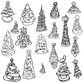 Christmas tree children new year pictures kid coloring doodle