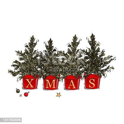 istock Christmas tree clipart, Xmas  evergreen tree pot winter decoration  icon , festive  design, greeting card 1347630556