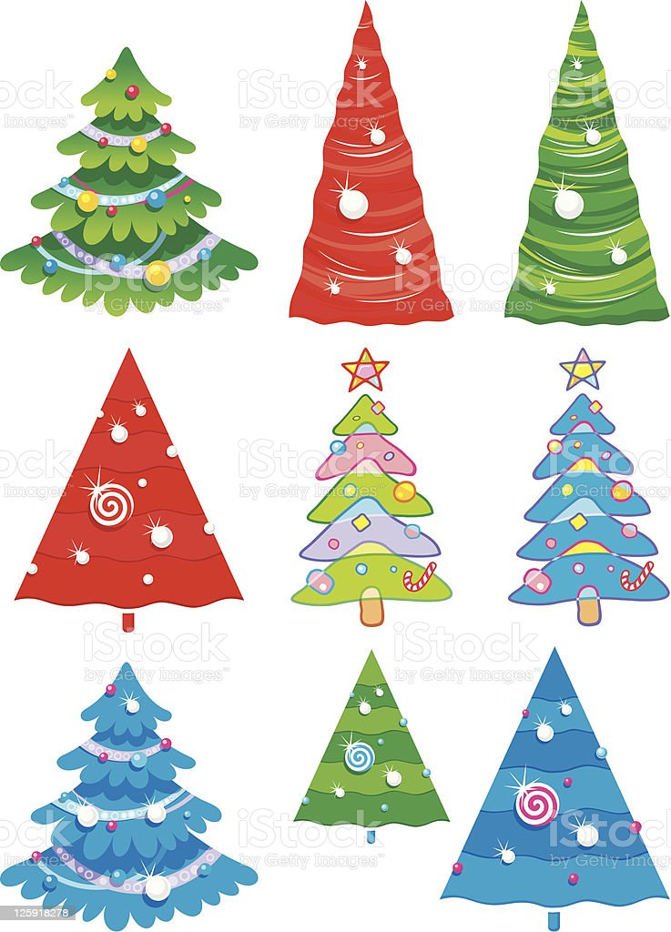 christmas tree collection royalty-free stock vector art