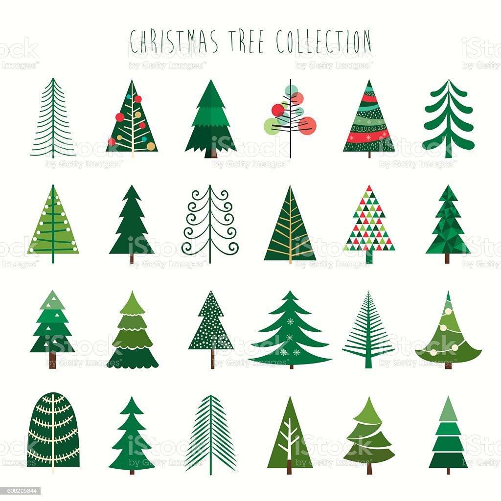 Weihnachtsbaum-Kollektion - Lizenzfrei Abstrakt Vektorgrafik