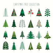 A collection of twenty four decorative trees