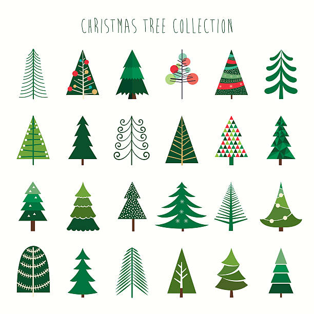 Christmas tree collection A collection of twenty four decorative trees christmas tree stock illustrations