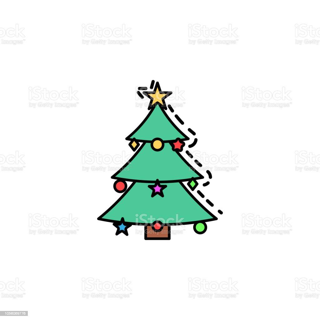 Symbol Weihnachtsbaum.Weihnachtsbaum Farbiges Symbol Element Der Silvester Avatare Symbol