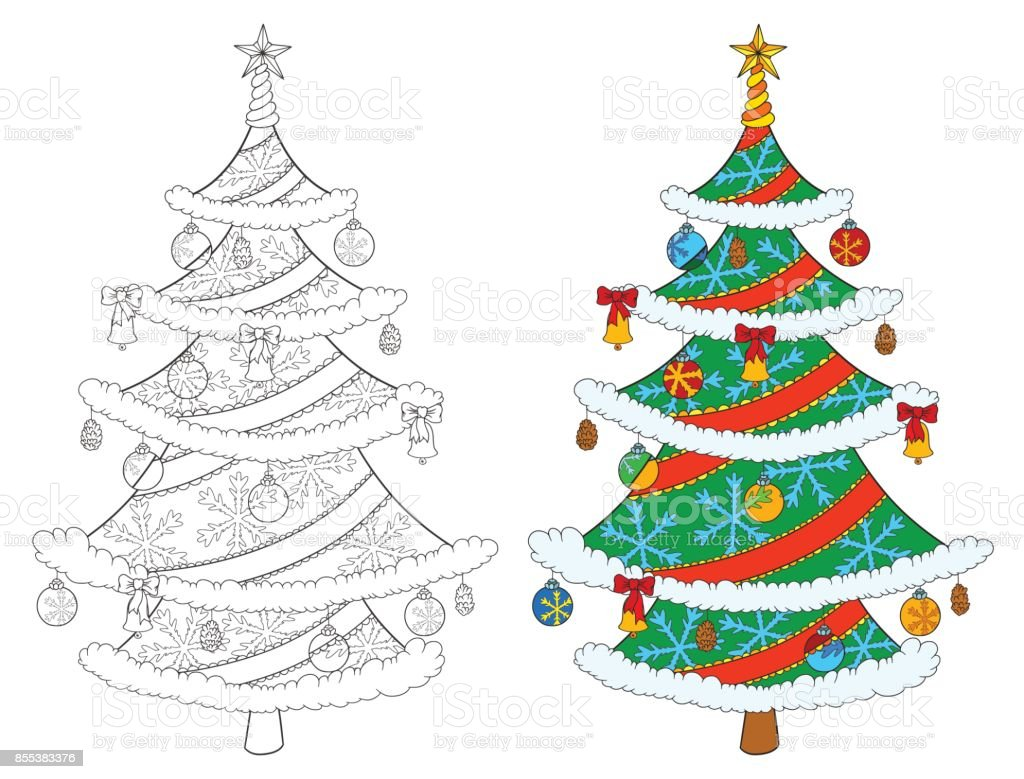 Christmas Tree Coloring Book Isolated On White Vector Stock Illustration Of Tree And Colored Example Stock Illustration Download Image Now Istock
