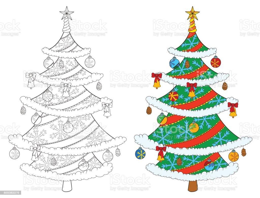 크리스마스 트리 색칠 흰색 절연입니다 나무와 컬러 예의 벡터