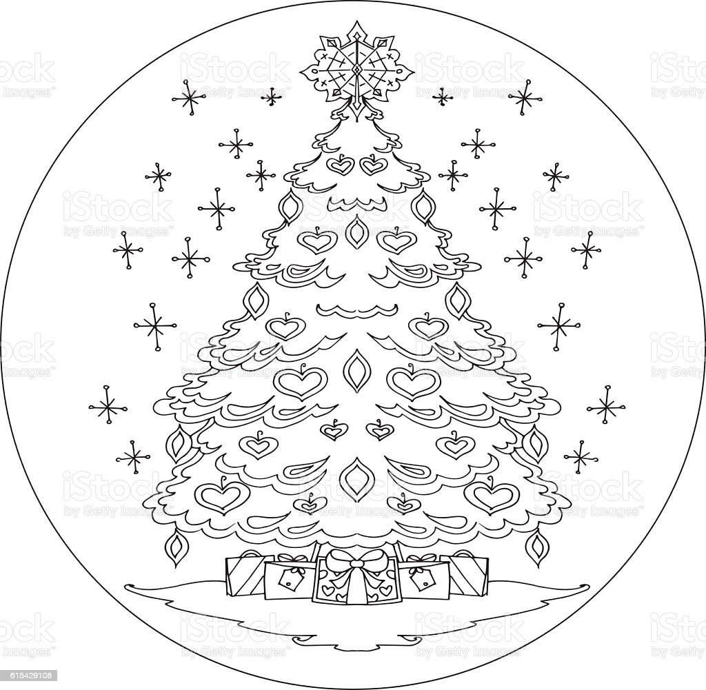 Christmas Tree Coloring Mandala Vector Stock Vector Art & More ...