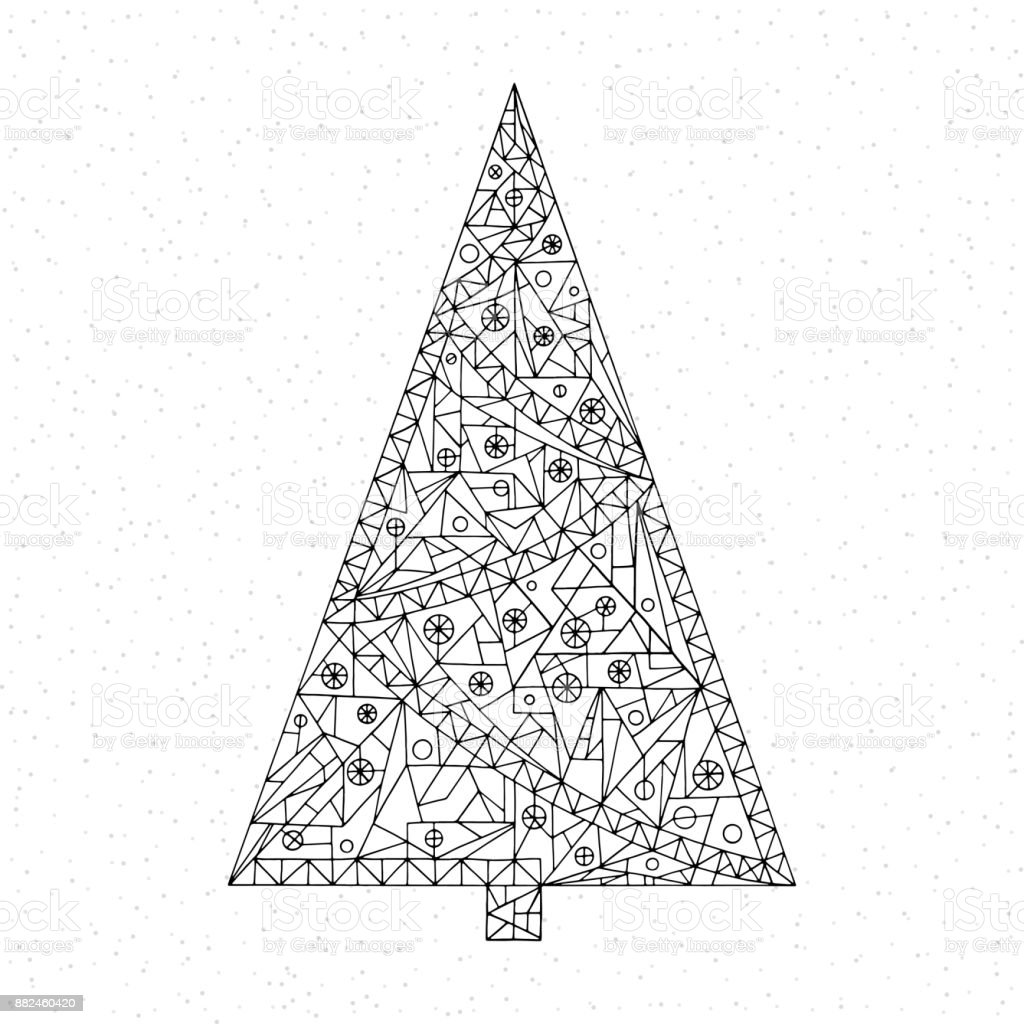 christmas tree coloring page hand drawn abstract winter holidays vector illustration happy new year