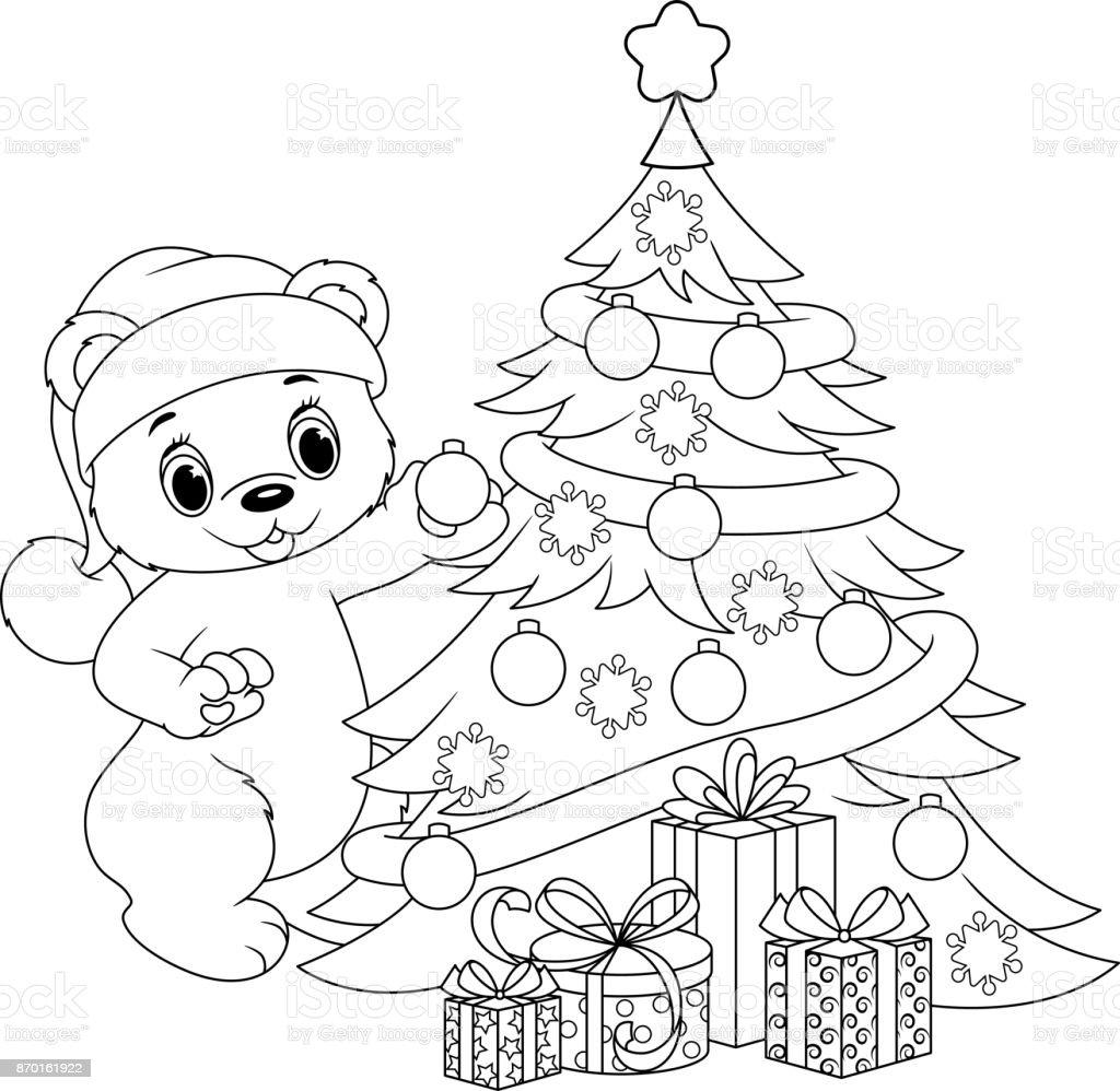 Noel Ağacı Boyama Sayfası Stok Vektör Sanatı Animasyon Karakter