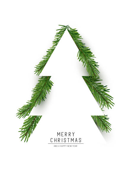 bildbanksillustrationer, clip art samt tecknat material och ikoner med julgran konceptet layout - christmas tree