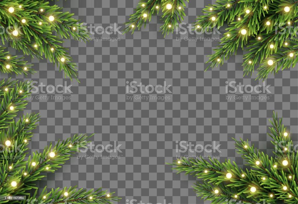 Julgran dekor med Gran grenar och ljus på transparent bakgrund, vektor illustration - Royaltyfri Advent vektorgrafik
