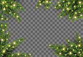 Christmas tree decor with fir branches and lights on transparent background, vector illustration