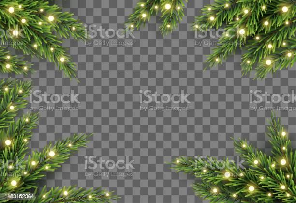 Julgran Dekor Med Gran Grenar Och Ljus På Transparent Bakgrund Vektor Illustration-vektorgrafik och fler bilder på Advent