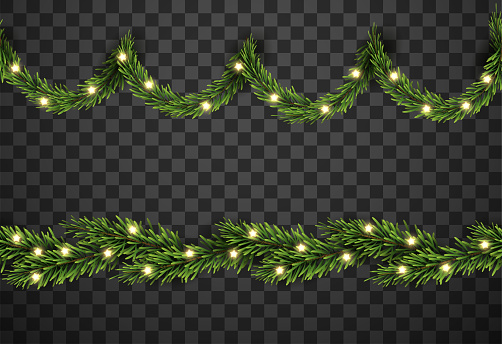 Christmas tree decor with fir branches and star on transparent background, vector illustration