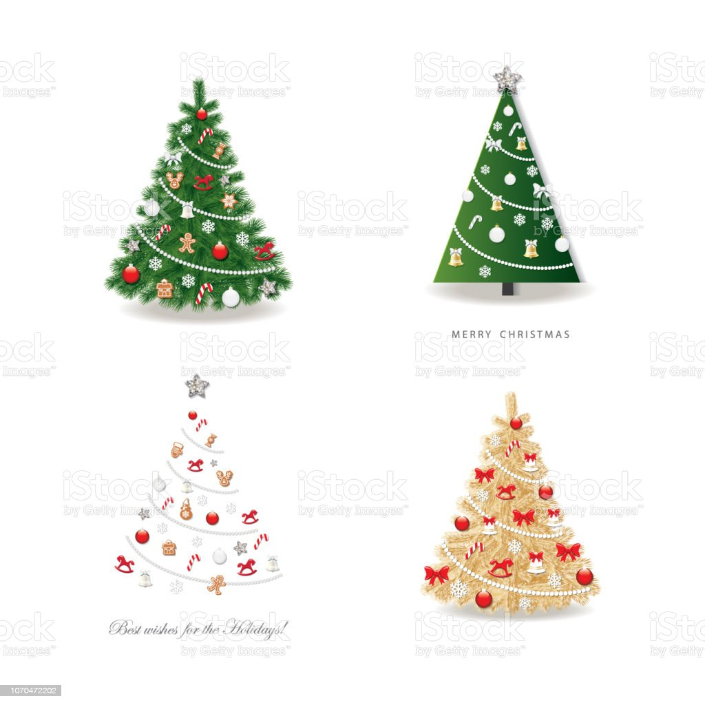 Christmas Tree Decorated Set Realistic Golden And Simple Paper Cut
