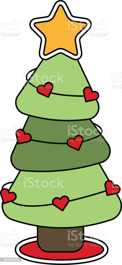 Christmas Tree Decorated with Heart Garland vector art illustration
