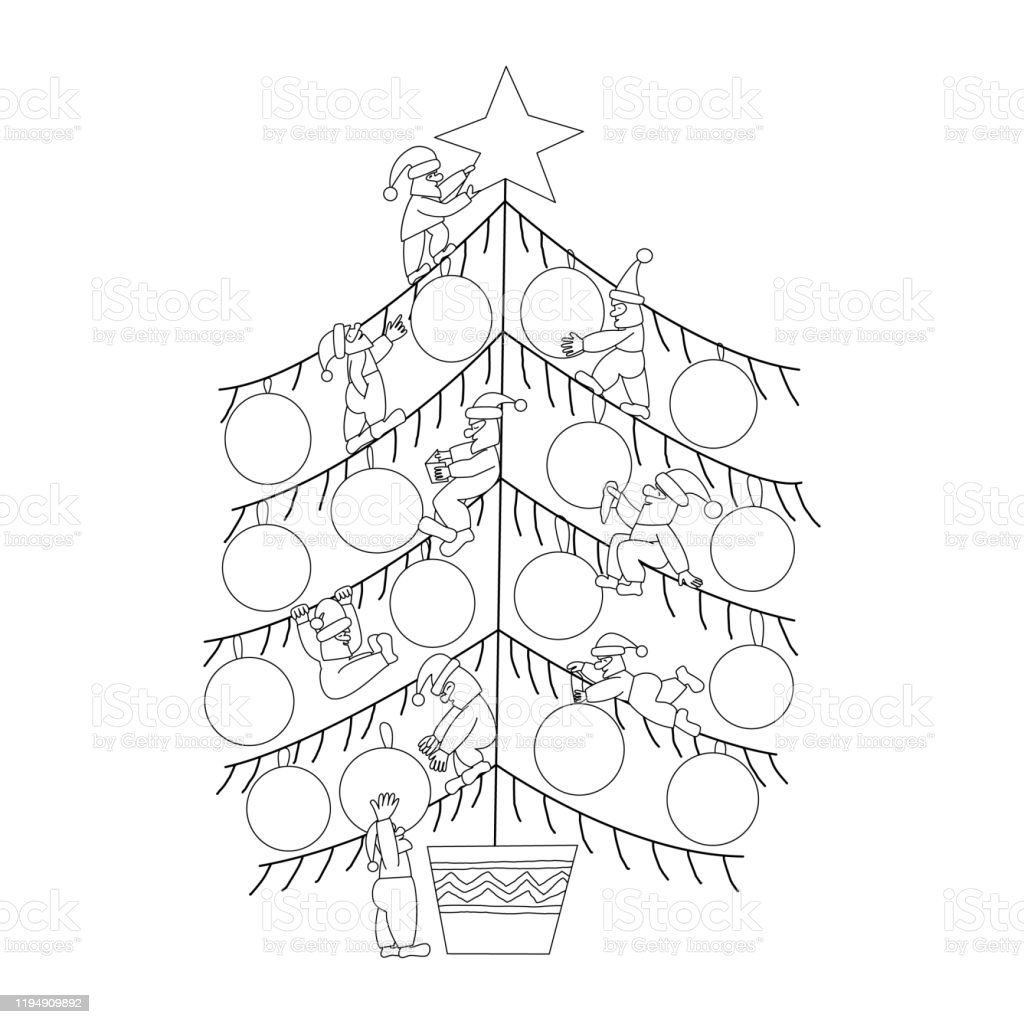 Christmas Tree Decorated With Scandinavian Gnomes Stock Illustration Download Image Now Istock
