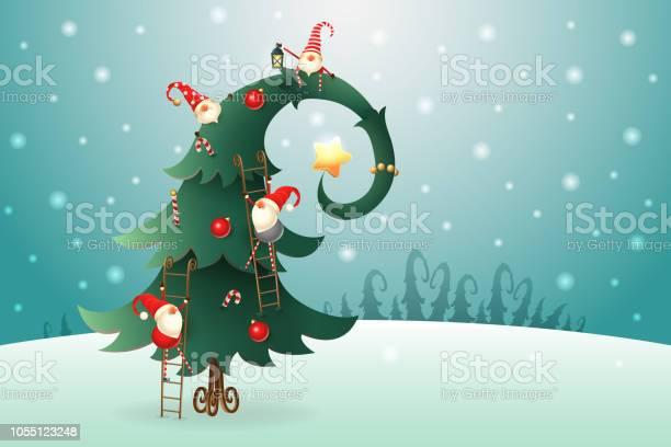 Christmas tree decorated with scandinavian gnomes who climb all over vector id1055123248?b=1&k=6&m=1055123248&s=612x612&h=omwck3bq1ohifehhy2yb9gyxyd45rjeljjvwmfxi9zu=