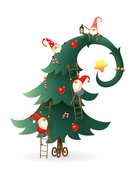 Christmas tree decorated with Scandinavian Gnomes who climb all over tree - transparent background Christmas tree decorated with Scandinavian Gnomes who climb all over tree - transparent background candy silhouettes stock illustrations