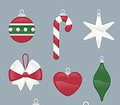 Christmas tree decoration ornaments Set. With White, red and gree Christmas Tree ball, Christmas Tree candy cane, Christmas Tree star, Christmas Tree ribbon, Christmas Tree heart shape, Christmas Tree ornaments, Christmas Tree bow. Vector illustration Cartoon.
