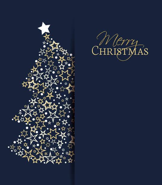 Christmas tree decoration Vector illustration of a Christmas background. Christmas tree made of stars. Happy Christmas greeting card. light through trees stock illustrations
