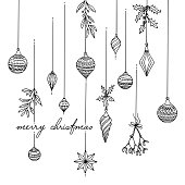 Hand drawn black and white Christmas tree decoration, greeting card template with text