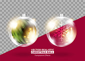 Christmas Tree Decoration. Vector Xmas Bauble. Set of Isolated Round Glass Balls. Transparent Glow Effect. Realistic 3D Toys for Christmas Card Design, Festive Poster, New Year's Eve Party Invitation.
