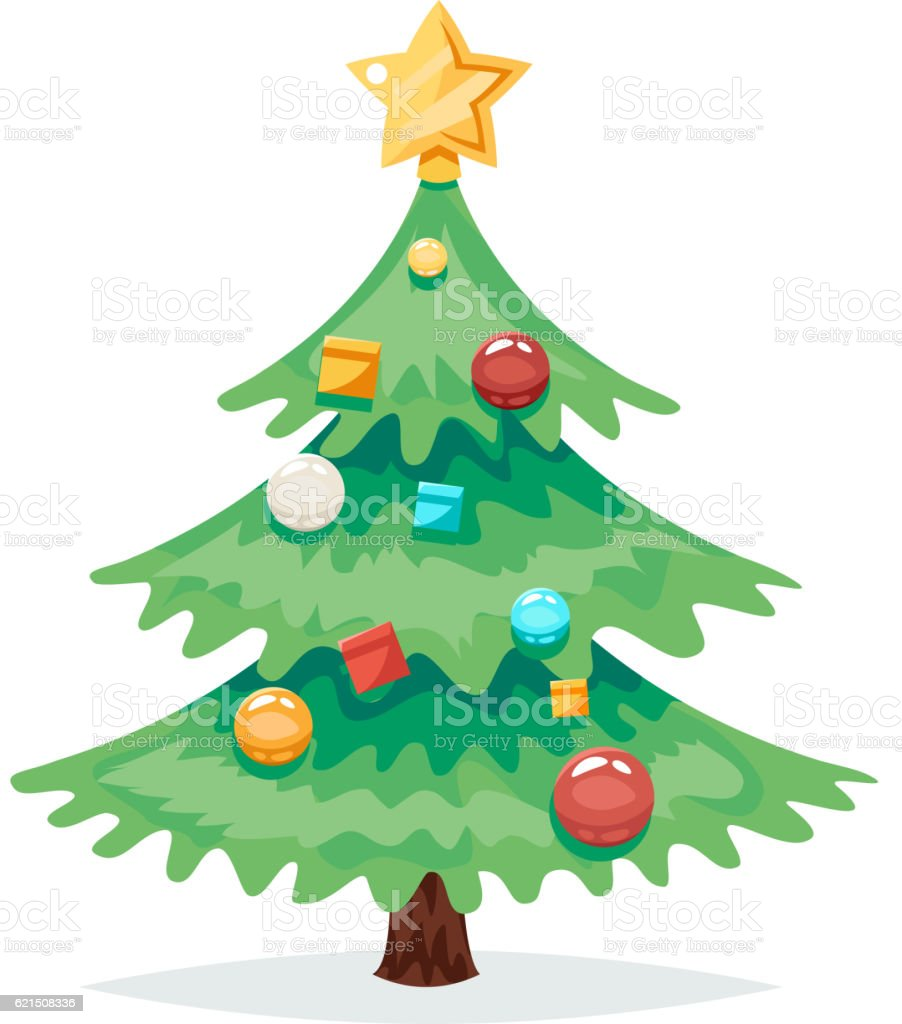 Christmas Tree Decorations and Toys New Year Isolated Icon Cartoon christmas tree decorations and toys new year isolated icon cartoon – cliparts vectoriels et plus d'images de arbre libre de droits