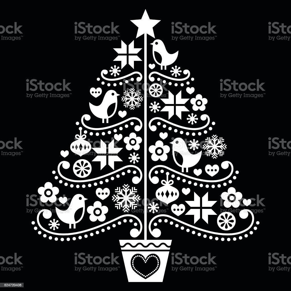 Folk rbol de navidad dise o estilo sobre negro arte - Arbol de navidad diseno ...