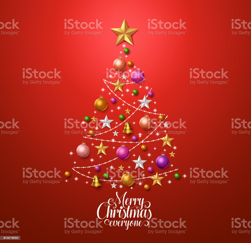 Christmas tree design for greetings card with colorful christmas decorations vector art illustration