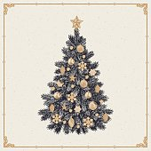 Vector illustration of detailed retro styled Christmas tree isolated on white background
