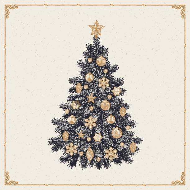 Christmas tree, detailed vintage vector illustration Vector illustration of detailed retro styled Christmas tree isolated on white background linocut stock illustrations