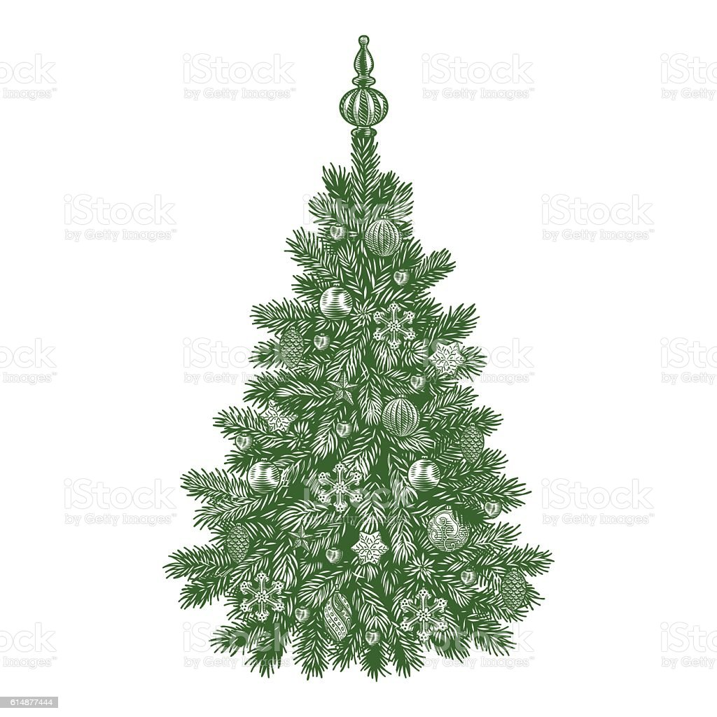 Christmas Tree Detailed Vintage Vector Illustration Royalty Free