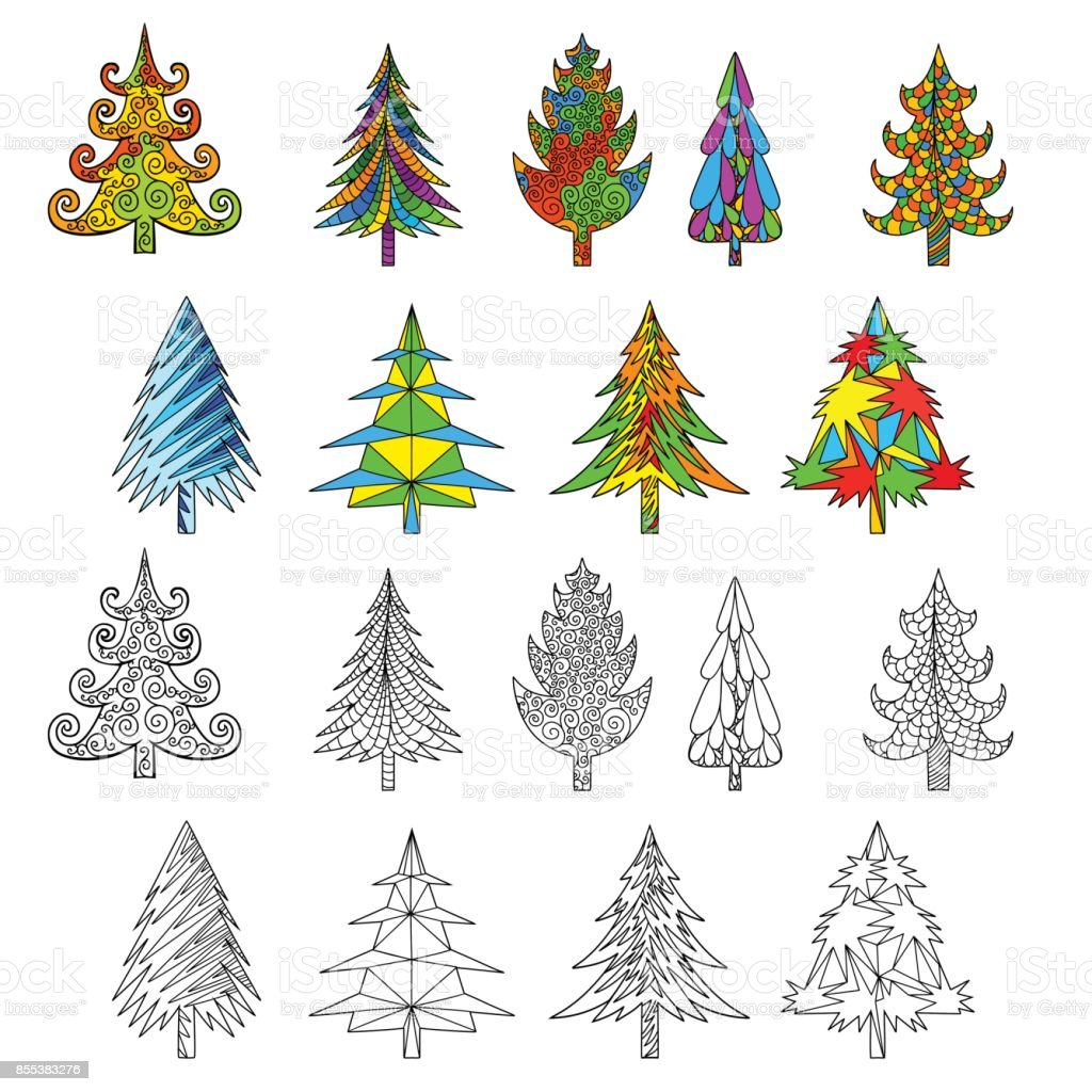Christmas Tree Doodle Coloring Book With Examples Isolated On White ...