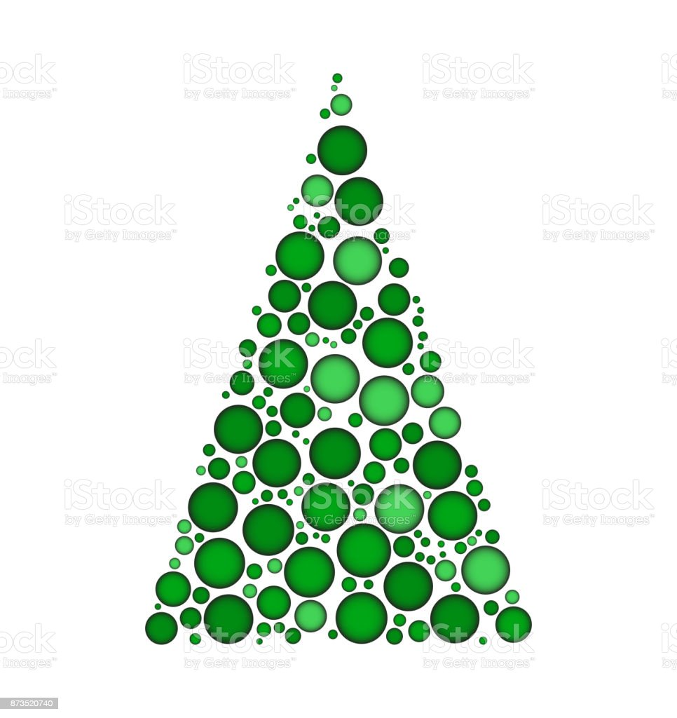 Christmas Tree White Background.Christmas Tree Dotted Vector Isolated On White Background