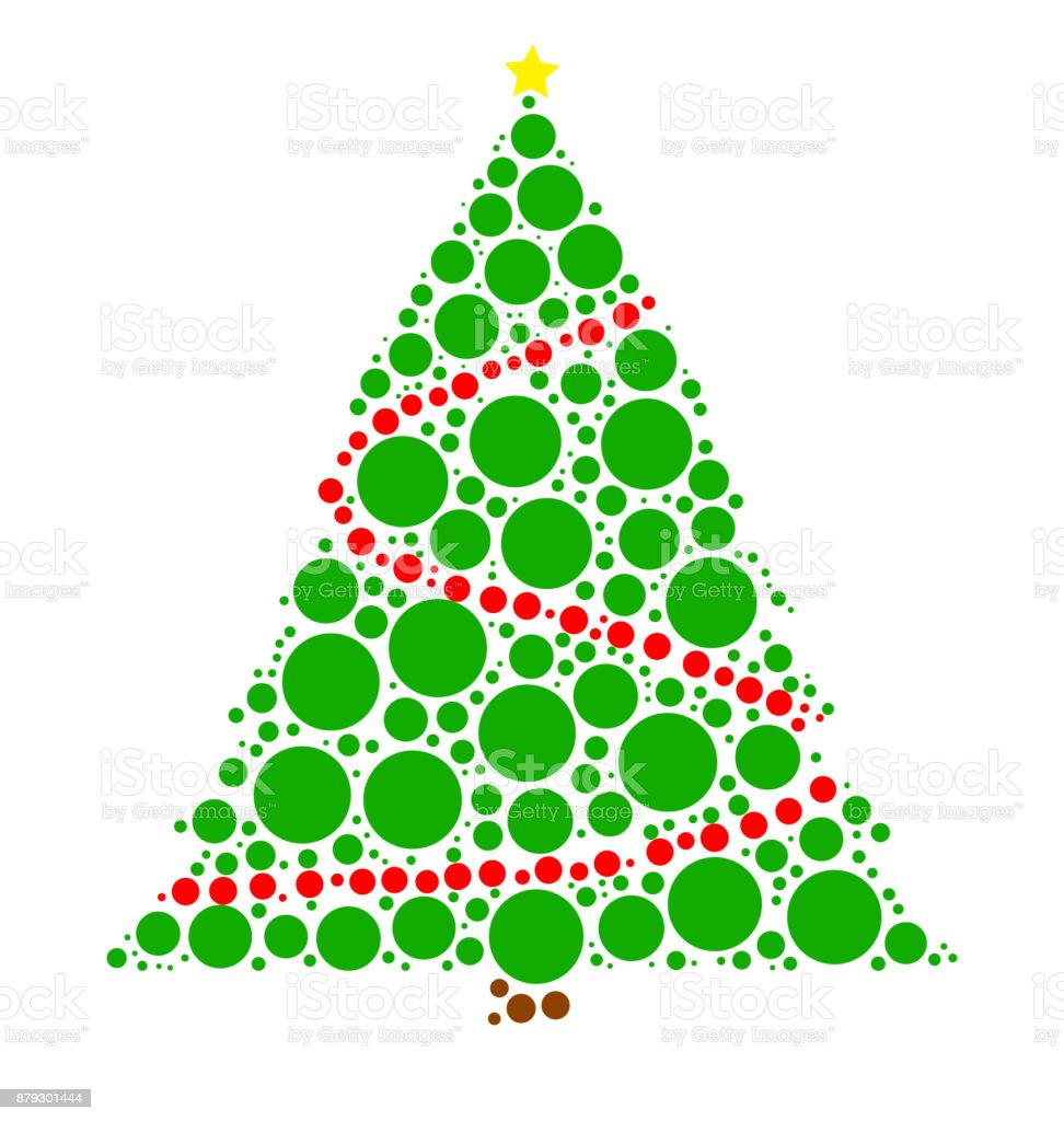 Christmas Tree Backgrounds.Christmas Tree Dotted Vector Isolated On White Background Stock Illustration Download Image Now