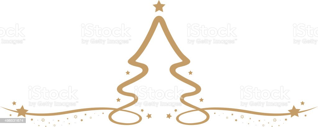 Christmas Tree Line Drawing Images : Christmas tree drawing line gold stars stock vector art