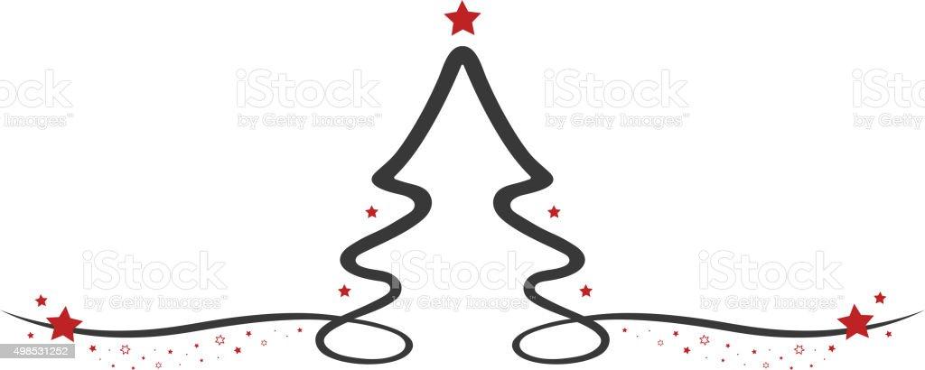 Arvore De Natal Desenho De Linha Estrelas Arte Vetorial De Stock