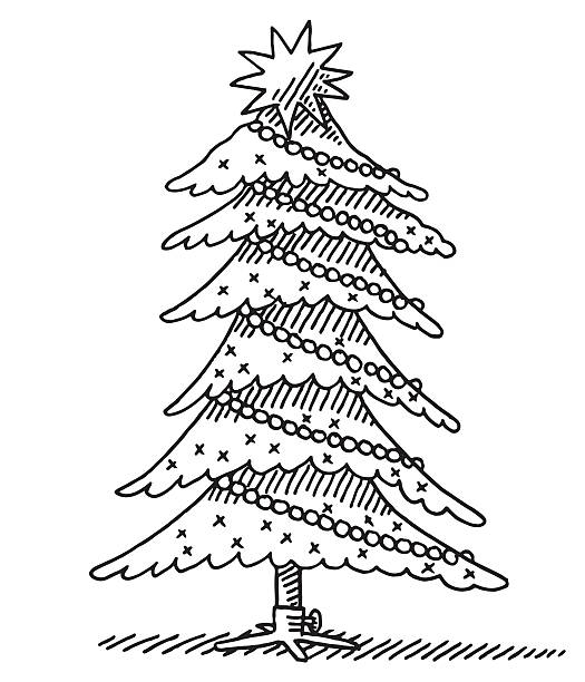 Line Drawing Christmas Tree : Royalty free christmas tree line drawing clip art vector