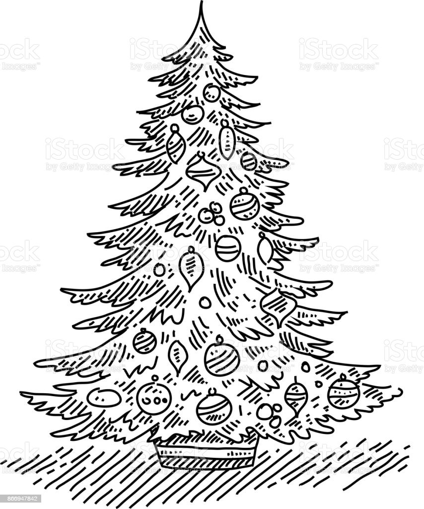 Christmas Tree Drawing Stock Illustration Download Image Now Istock