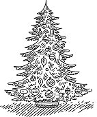 Line drwing of Christmas tree