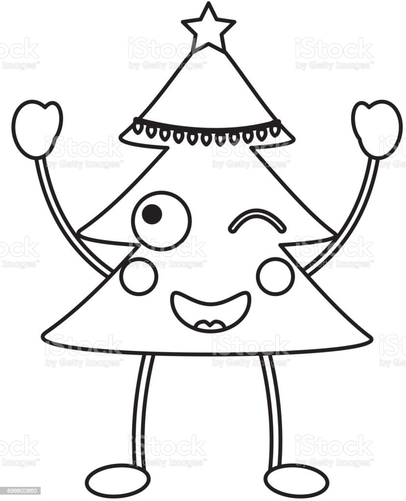Christmas Tree Emoji Icon Image Stock Illustration