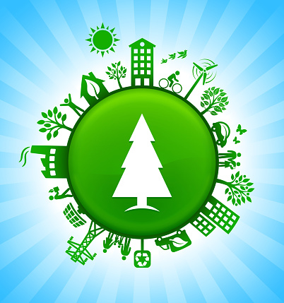 Christmas Tree Environment Green Button Background on Blue Sky