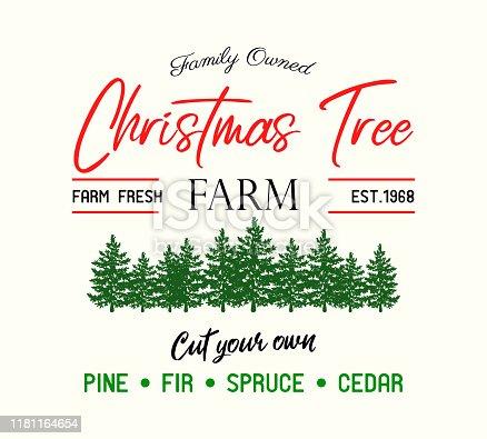 Christmas tree Farm retro vector advertising sign art
