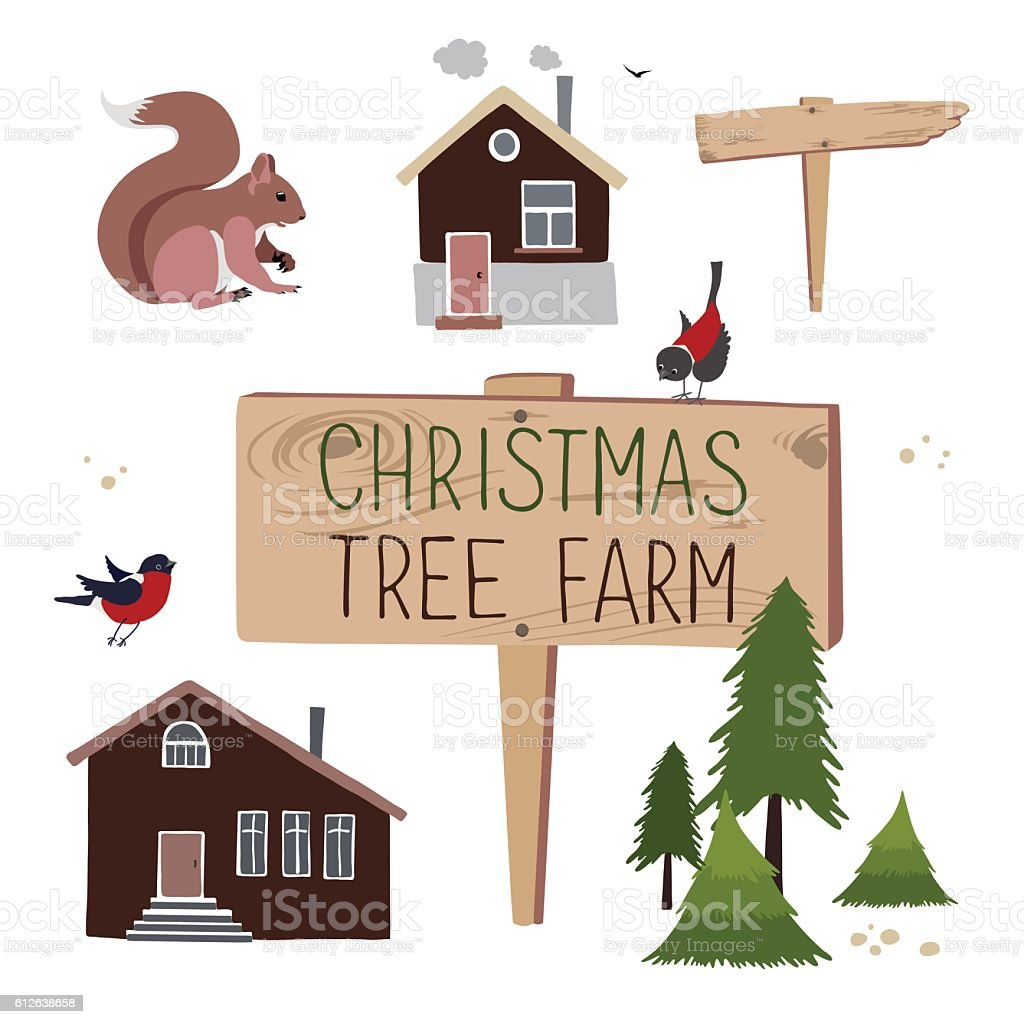 Christmas tree farm. Set of objects vector art illustration