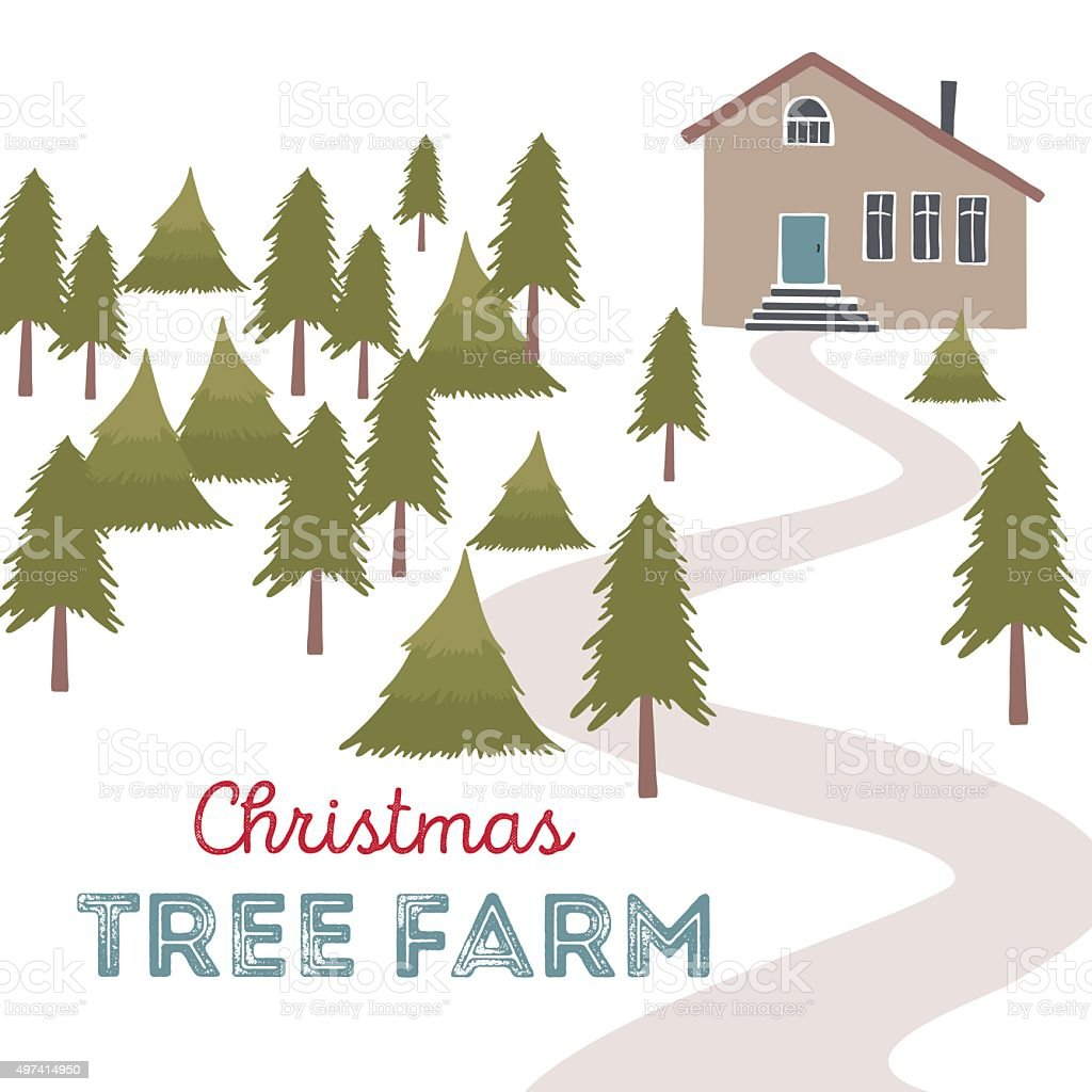 Christmas tree farm vector illustration. vector art illustration