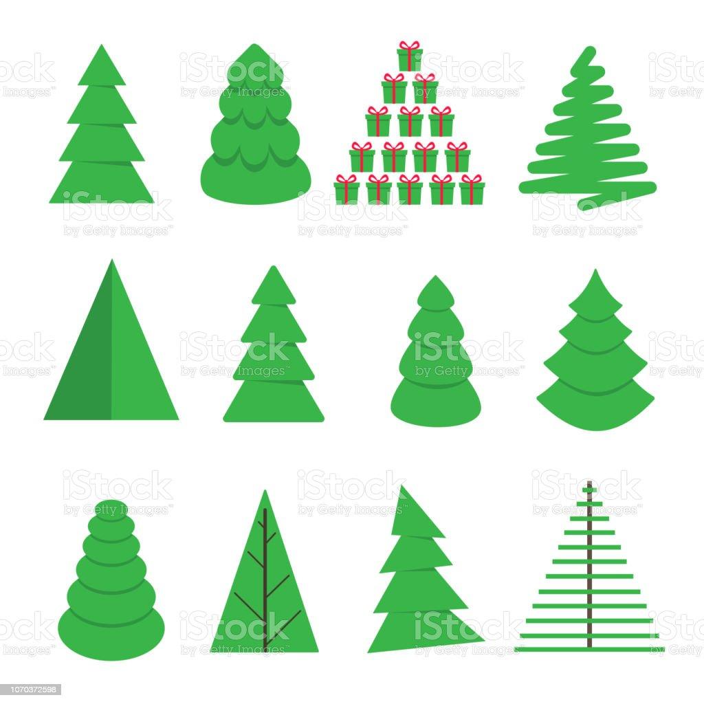 16 Weihnachtsbaum Tanne Flach Stil Design Symbol Zeichen Set