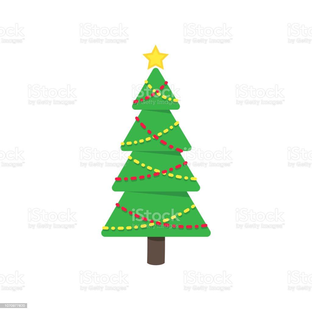 Dessin Sapin De Noel Sapin Plat Style Icone Sign Vector Illustration Symbole De La Fete Familiale De Vacances De Noel Isole Sur Fond Blanc Des Bals Et Des Etoiles Joyeux Noel Bonne